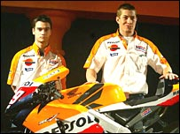 Dani Pedrosa (left) and Nicky Hayden (right)