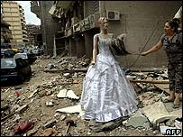 Dress shop reopening after ceasefire in heavily-bombed Beirut suburb