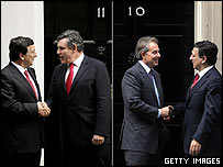 Jose Manuel Barroso with Gordon Brown and Tony Blair