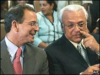 Eduardo Montealegre (izq.) y José Rizo, candidatos presidenciales de Nicaragua.