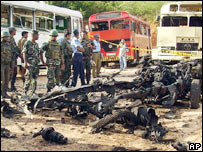 Aftermath of attack on convoy of buses in Sri Lanka