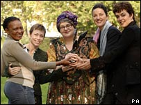(left to right) Thabitha Khumalo, Jane Tomlinson, Camila Batmanghelidjh, Nicky Webb, Helen Marriage