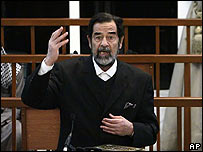 Saddam Hussein en el tribunal