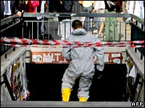 A rescue worker at Piazza Vittorio Emanuele II metro station