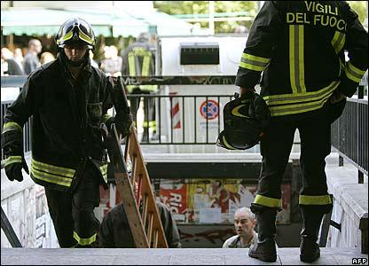 Firefighters enter Rome's Piazza Vittorio Emanuele II underground station