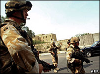 British soldiers man a checkpoint in Basra  Image: AFP