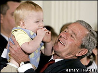 President Bush with baby