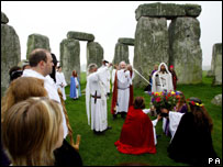 Druids celebrate inclusion of Stonehenge as one of the seven wonders of the modern world
