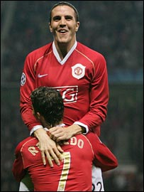John O'Shea celebrated his goal with Cristiano Ronaldo