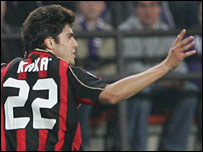 Kaka celebrates his winner for AC Milan against Anderlecht