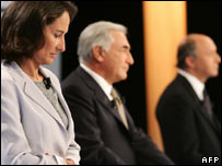 From left, Segolene Royal, Dominique Strauss-Kahn and Laurent Fabius
