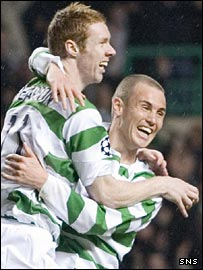 Stephen Pearson enjoys his moment with Kenny Miller