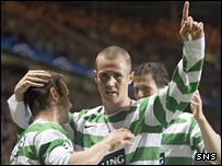 Kenny Miller celebrates against Benfica