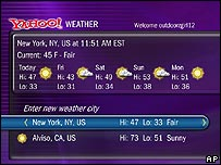 Yahoo weather page from a TiVo recorder