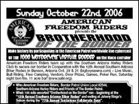 Afiche de convocatoria a la marcha de motociclistas en Arizona