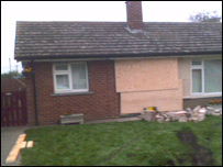 Damage at bungalow at Hodson Close, Skellingthorpe, near Lincoln