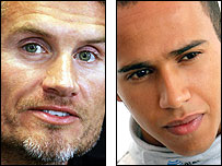 David Coulthard (L) and Lewis Hamilton