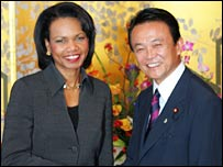 US Secretary of State Condoleezza Rice (left) with Japanese Foreign Minister Taro Aso (right)