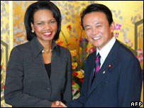 Condoleezza Rice and Taro Aso in Tokyo on 18 October 2006