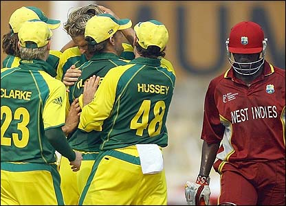 Australia celebrate as Wavell Hinds returns to the pavilion