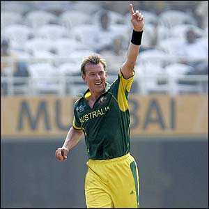 Brett Lee celebrates taking the wicket of Dwayne Smith