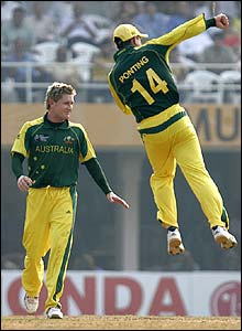 Ponting jumps for joy as Michael Clarke claims the wicket of Ramnaresh Sarwan