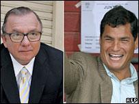 Ecuador presidential candidates Alvaro Noboa (L) and Rafael Correa (R)