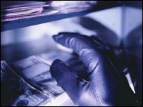 Преступник в перчатках похищает документы и деньги из сейфа