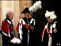 Longford with the Princess Royal and the Queen at the Garter ceremony in 1994