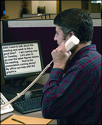 Photo of a man using the WebCapTel service