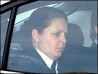 Teresa Milburn leaves Newcastle Crown Court after giving evidence
