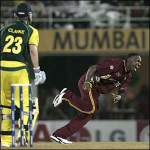 Dwayne Bravo dismisses Michael Clarke caught and bowled