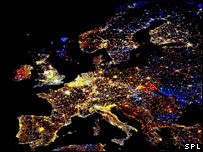 Europe at night (Image: Science Photo Library/NOAA)