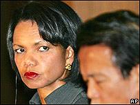 Condoleezza Rice y Taro Aso