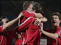 Liverpool celebrate their winner against Bordeaux