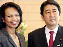 Condoleezza Rice and Shinzo Abe