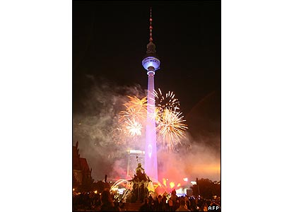 Berlin's Fernsehturm TV tower during the Festival of Lights