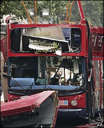 Scene of London bus bombing