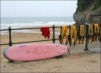 Jim Young sent in this picture of boards and wetsuits at Caswell, Gower