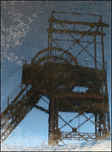 A reflection in a puddle at Cefn Coed Pit museum (Stuart Shearer, Sketty)