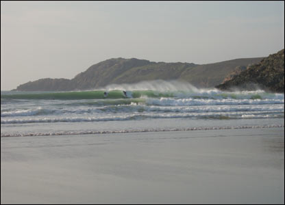 Tony Symonds captured this view of surfers on Whitesands