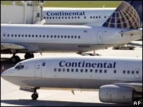 Continental Airlines planes