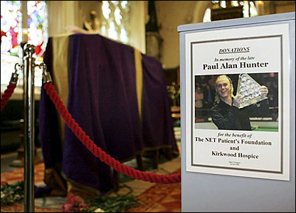 Paul Hunter's coffin at Leeds Parish Church