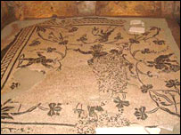 Roman mosaic in one of the tombs found in the Vatican