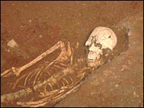 Skeleton from the newly discovered Roman burial site