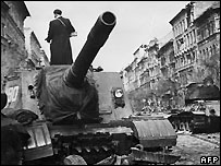 Soviet tanks after the uprising was crushed