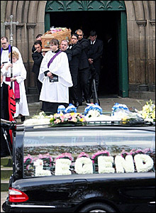 Paul Hunter's coffin is taken from Leeds Parish Church