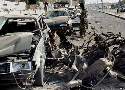 Twisted cars in Mosul