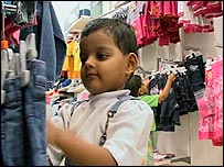 Children shopping in a Disney store in Mumbai