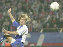 Robbie Savage places his header for Blackburn's equaliser